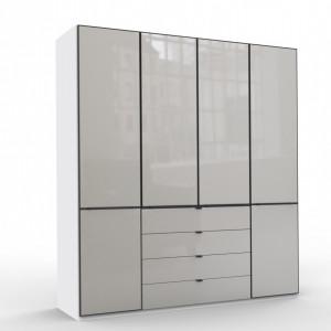 Dressing Arrowpoint, lemn/ sticla, alb/ gri, 216 x 200 x 58 cm