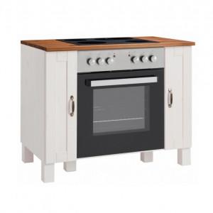 Dulap pentru cuptor Alby din lemn masiv de pin/metal, alb, 100 x 60 x 85 cm
