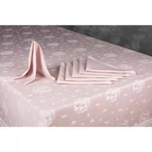 Față de masă din bumbac, roz, 150 x 180 cm
