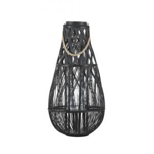 Felinar TONGA, lemn, negru, 39 x 39 x 77 cm