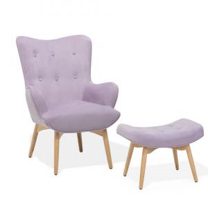 Fotoliu cu scaun pentru picioare Vejle, roz, 81 x 78 x 100 cm