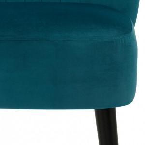 Fotoliu Home Affaire Antonio, verde petrol, cusaturi decorative si picioare de lemn