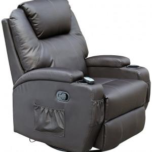 Fotoliu recliner Cinemo, cu masaj, incalzire, rotativ si cu suport pentru bauturi, piele naturala, negru