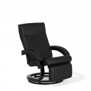 Fotoliu recliner Might, piele ecologica, negru, 67 x 86 x 97 cm