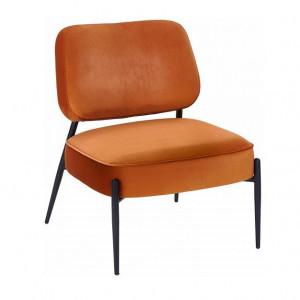 Fotoliu tapitat Viggo, catifea, portocaliu, 62 x 67 x 76 cm