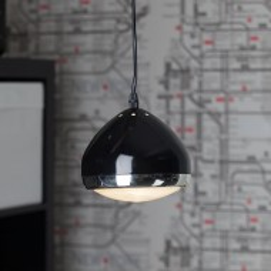 Lustra tip pendul Rider metal/sticla, 1 bec, negru, 230 V, diametru 17 cm