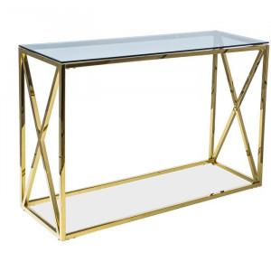 Masa Cruce, metal/sticla, auriu, 78 x 120 x 40 cm