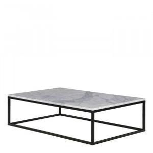 Masa de cafea Heyward, metal, neagra/alba, 35 x 120 x 75 cm