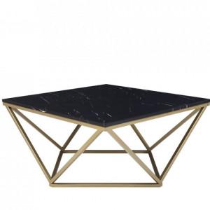 Masa de cafea Malibu, blat MDF cu aspect de marmura, negru/ auriu, 41 x 80 x 80 cm