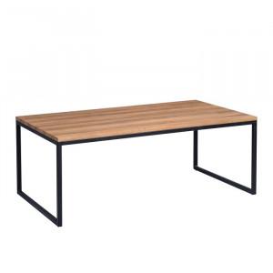 Masa de cafea, metal/lemn, maro/neagra, 43 x 110 x 60 cm