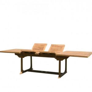 Masa de gradina extensibila Orient, lemn masiv, maro, 75 x 195/295 x 90 cm