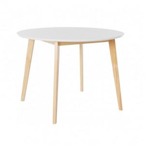 Masa de living rotunda Cody, MDF/lemn masiv de pin, alb, diamentru 105 cm