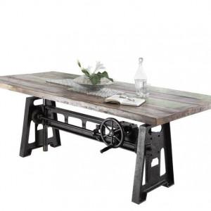 Masa de living Springfield, metal/lemn masiv, maro/negru, 76 x 100 x 240 cm