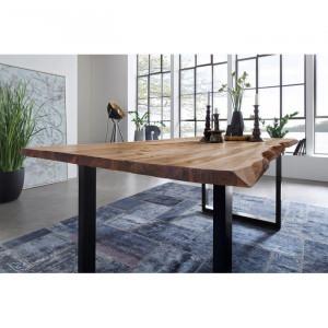 Masa Langford, lemn masiv, maro, 140 x 80 x 77 cm