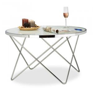 Masa laterala Melina, metal/sticla, argintie, 48 x 85 x 85 cm