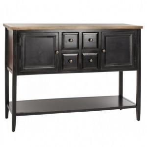 Masa tip consola Bagwell, lemn masiv, maro/negru, 86,6 x 116,6 x 38,1 cm