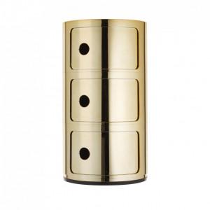 Noptieră Componibile din metal, auriu, 32x59cm