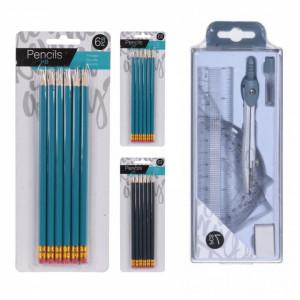 Pachet birotica set de 12 creioane HB si trusa de geometrie, 7 piese