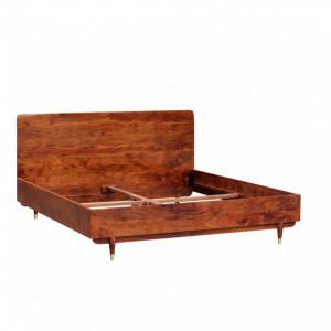 Pat din lemn masiv Baxley Salcâm solid/metal, maro/auriu, 180 x 200 cm