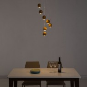 Pendul LED Wookie cu 7 becuri, lemn/fier, maro, diametru 35 cm, 220 V