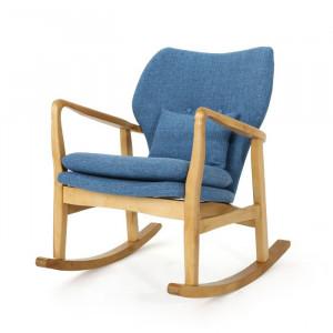 Scaun balansoar Chamberland, lemn/poliester, albastru, 84 x 67 x 87 cm
