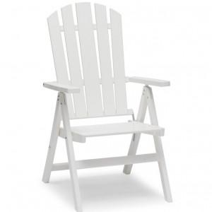 Scaun de grădină pliabil, alb, 108 x 62 x 66 cm