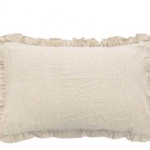 Set 2 fețe de pernă cu volanase ondulate Puro lino ivoriu, 50x80 cm