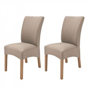 Set 2 scaune Sarpsborg III, bej/ stejar