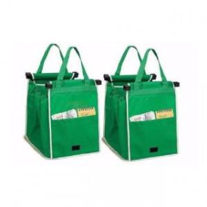 Set de 2 sacose reutilizabile pentru cumparaturi, care se ataseaza la cosul de cumparaturi