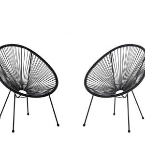Set de 2 scaune Acapulco II, negru, 70 x 90 x 87 cm