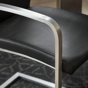 Set de 2 scaune Augusta I din piele naturala, negru
