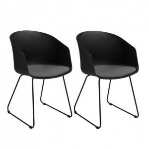 Set de 2 scaune Bogart, negru, 51 x 81 x 52 cm
