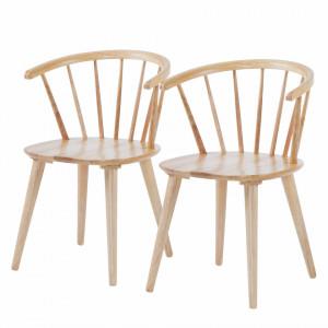 Set de 2 scaune Crisis, lemn de arbore de cauciuc