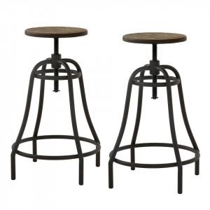 Set de 2 scaune de bar Roth- bambus/metal - negru