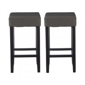 Set de 2 scaune de bat Parnassus 69cm, lemn / piele sintetica, negru/gri