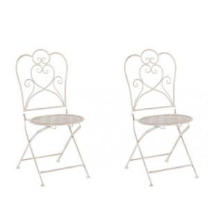 Set de 2 scaune de gradina Trieste, metal, bej, 44 x 48 x 92 cm