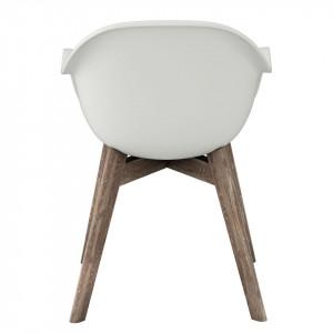 Set de 2 scaune de gradina Volcano plastic/lemn masiv de salcam, alb, 58 x 83 x 59 cm