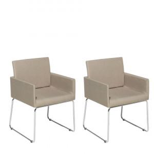 Set de 2 scaune Gomez, bej/argintiu, 54 x 58 x 81 cm