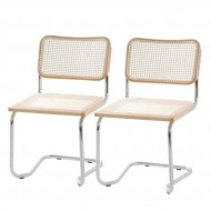 Set de 2 scaune Holm tesatura/fag/metal, crem, 48 x 85 x 56 cm