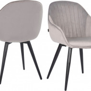 Set de 2 scaune Isalie, gri/negru, 57 x 62 x 84 cm