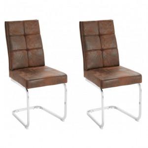 Set de 2 scaune Lale, microfibra/metal, maro/argintiu, 45x61x95 cm