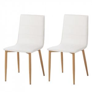 Set de 2 scaune Lesja din piele sintetica alba
