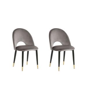 Set de 2 scaune Magalia din catifea, gri deschis