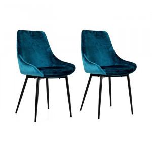 Set de 2 scaune Mankato, metal/velur, albastre, 85 x 48 x 55 cm