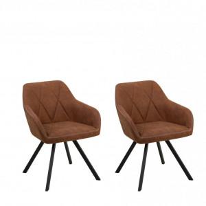 Set de 2 scaune MONEE, maro/negre, 48 x 50 x 78 cm