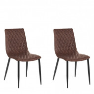 Set de 2 scaune MONTANA, piele sintetică, maro, 90 x 45 x 60 cm