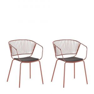 Set de 2 scaune Rigby, cupru, 54 x 49 x 77 cm