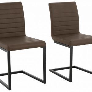 Set de 2 scaune Sabine piele sintetica/metal, maro 54 x 59 x 87 cm