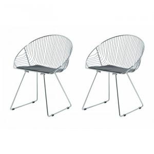 Set de 2 scaune Sayers, argintii, 82 x 56 x 54 cm