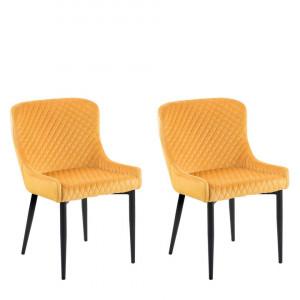 Set de 2 scaune SOLANO, catifea/metal, galbene, 51 x 52 x 82 cm